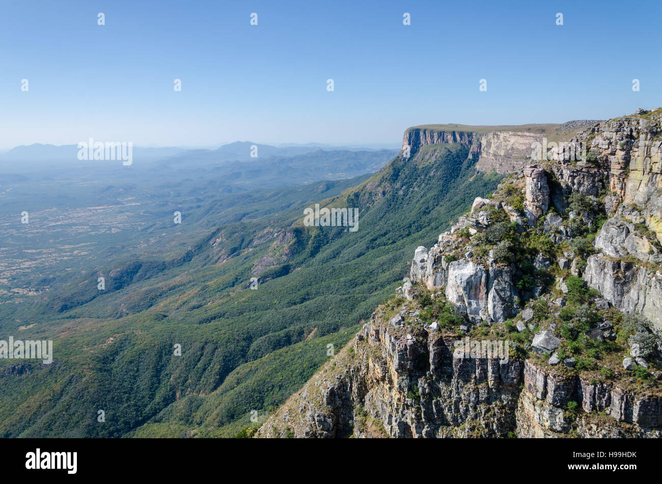 Tundavala near Lubango in Angola where the plateau drops 1000m straight down into the lowlands. In the past convicted - Stock Image