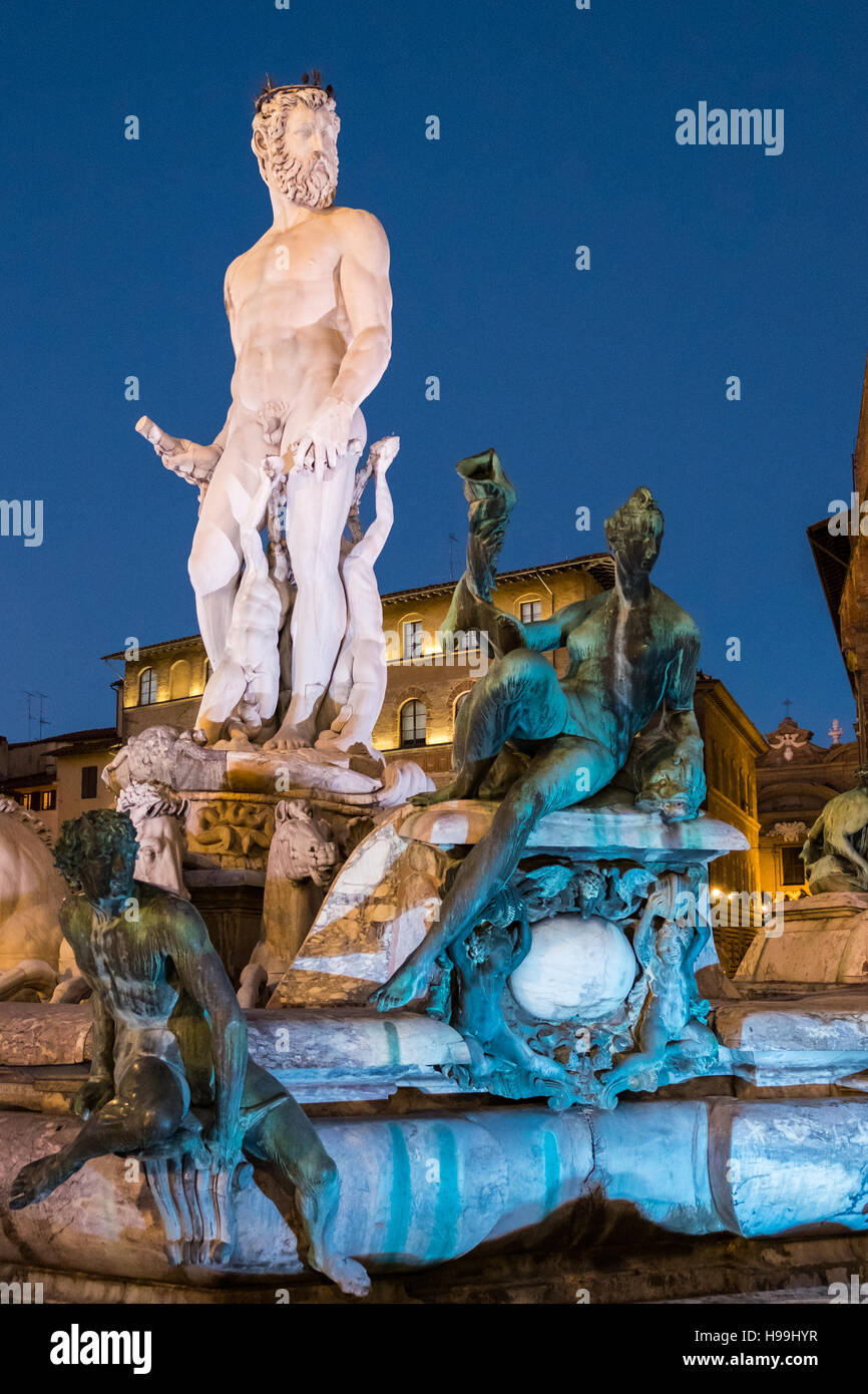 The Fountain of Neptune is a fountain in Florence, Italy, situated on the Piazza della Signoria in front of the - Stock Image