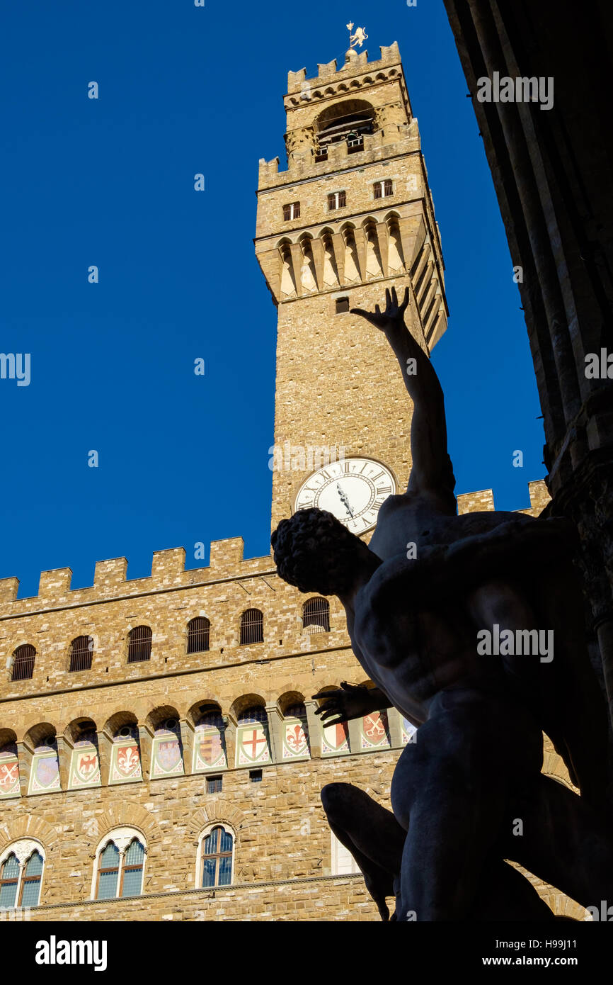 The Palazzo Vecchio is the town hall of Florence, Italy. It overlooks the Piazza della Signoria - Stock Image