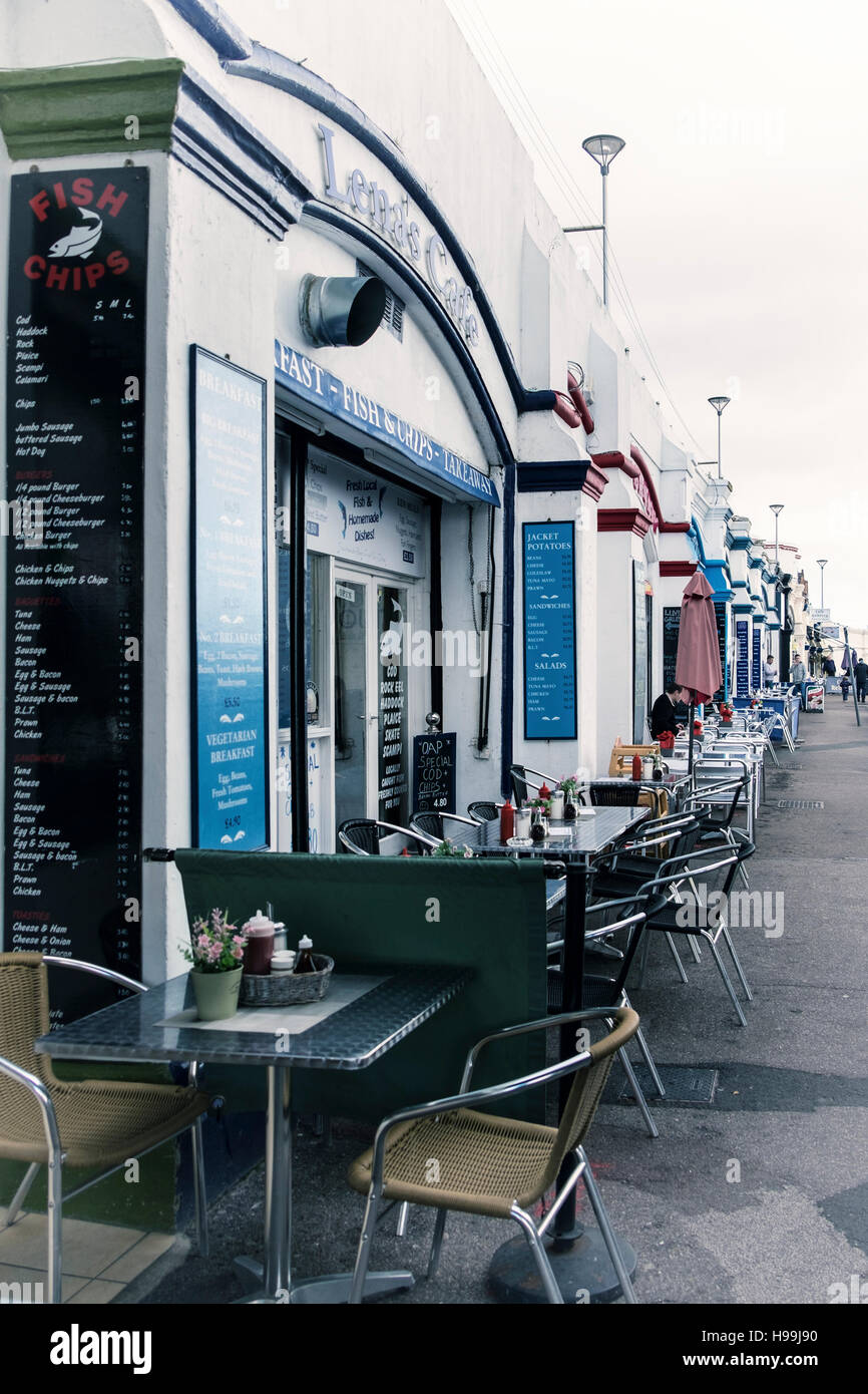 Fish and Chips, shops, cafes, diners. restaurants with pavement tables along the seafront, Southend-on-sea, Essex,England - Stock Image