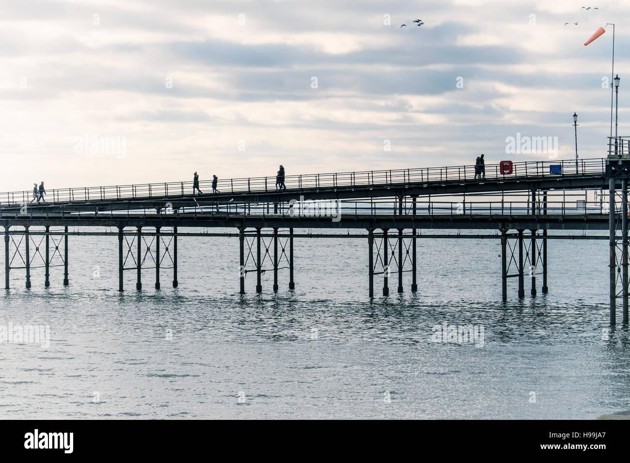 People walking on Southend Pier, the longest pleasure pier in the World. Southend-on-sea, Essex,England - Stock Image