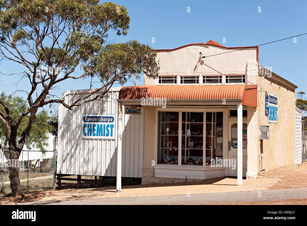 Small outback town Chemist Shop, Ravensthorpe Western Australia - Stock Image
