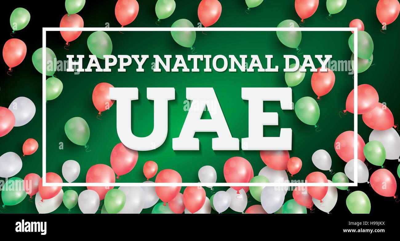 Happy National Day UAE. Vector Illustration. Celebration December. 2 in United Arab Emirates. Stock Vector