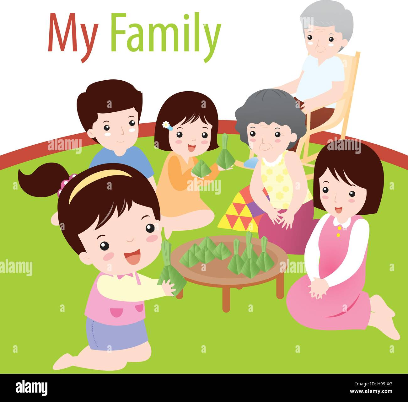 Vector illustration of My family - Stock Vector