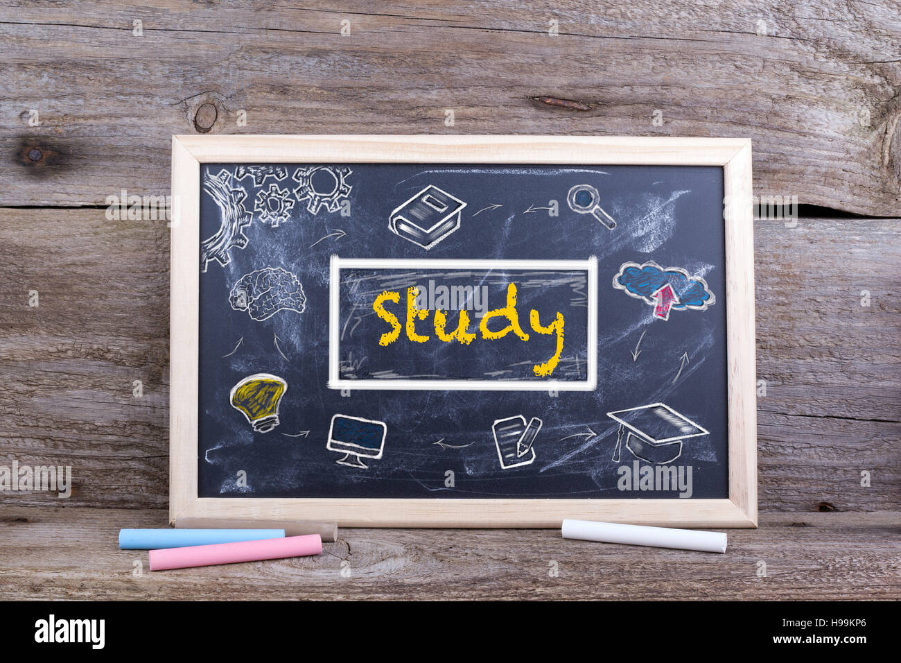 Study on blackboard. Knowledge Education Academics Learning Concept - Stock Image