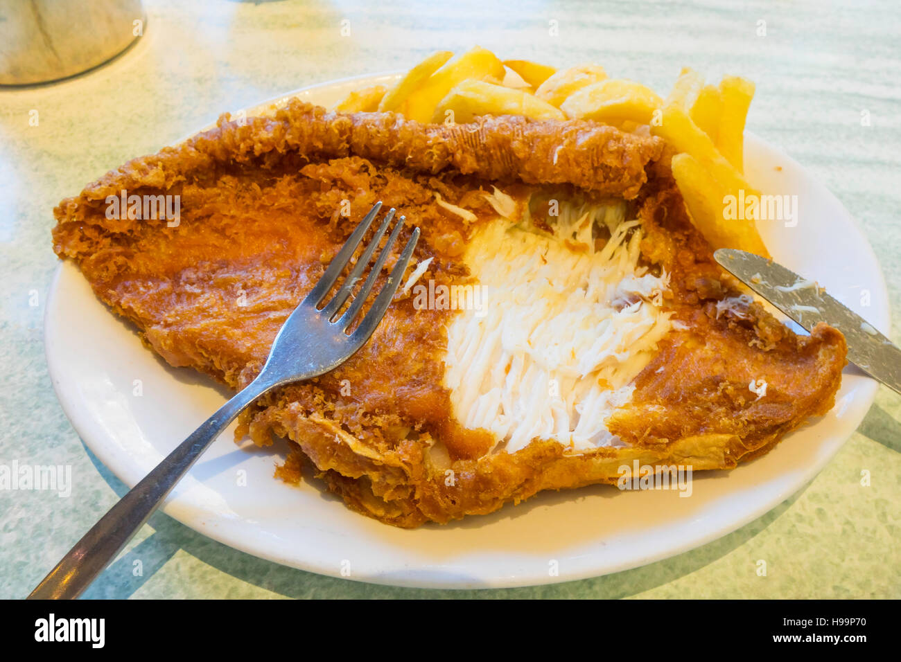Special fish chips made with Skate at a cafe in Whitby Yorkshire England - Stock Image