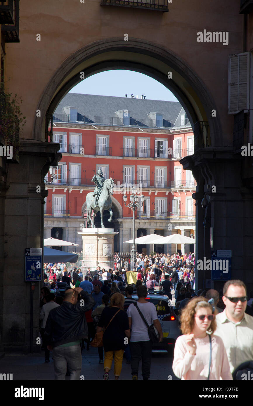 Tourists visiting art city, Madrid Spain Placa Mayor - Stock Image
