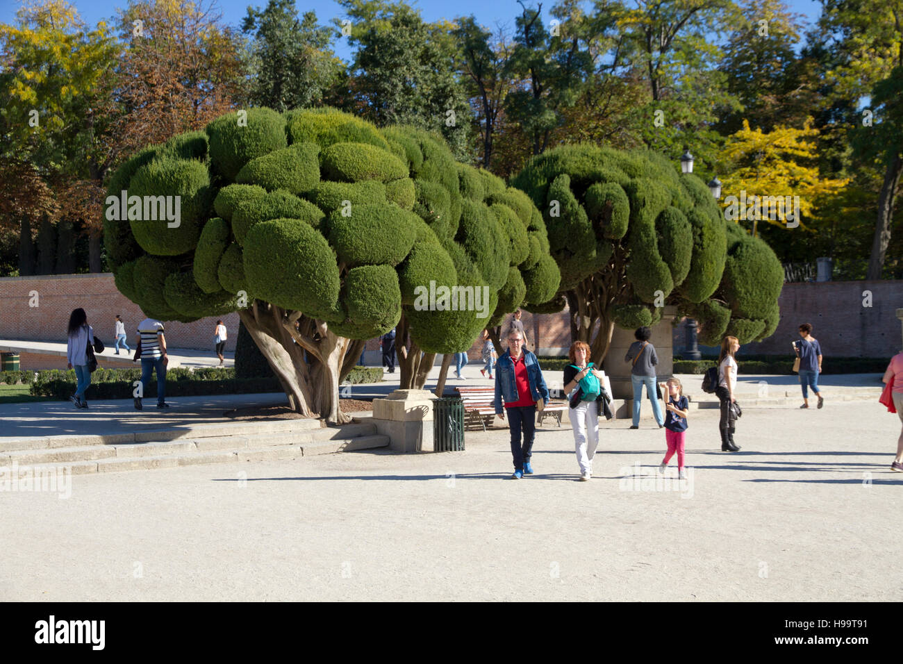 Madrid Spain Park of Retiro tourists visiting day people - Stock Image