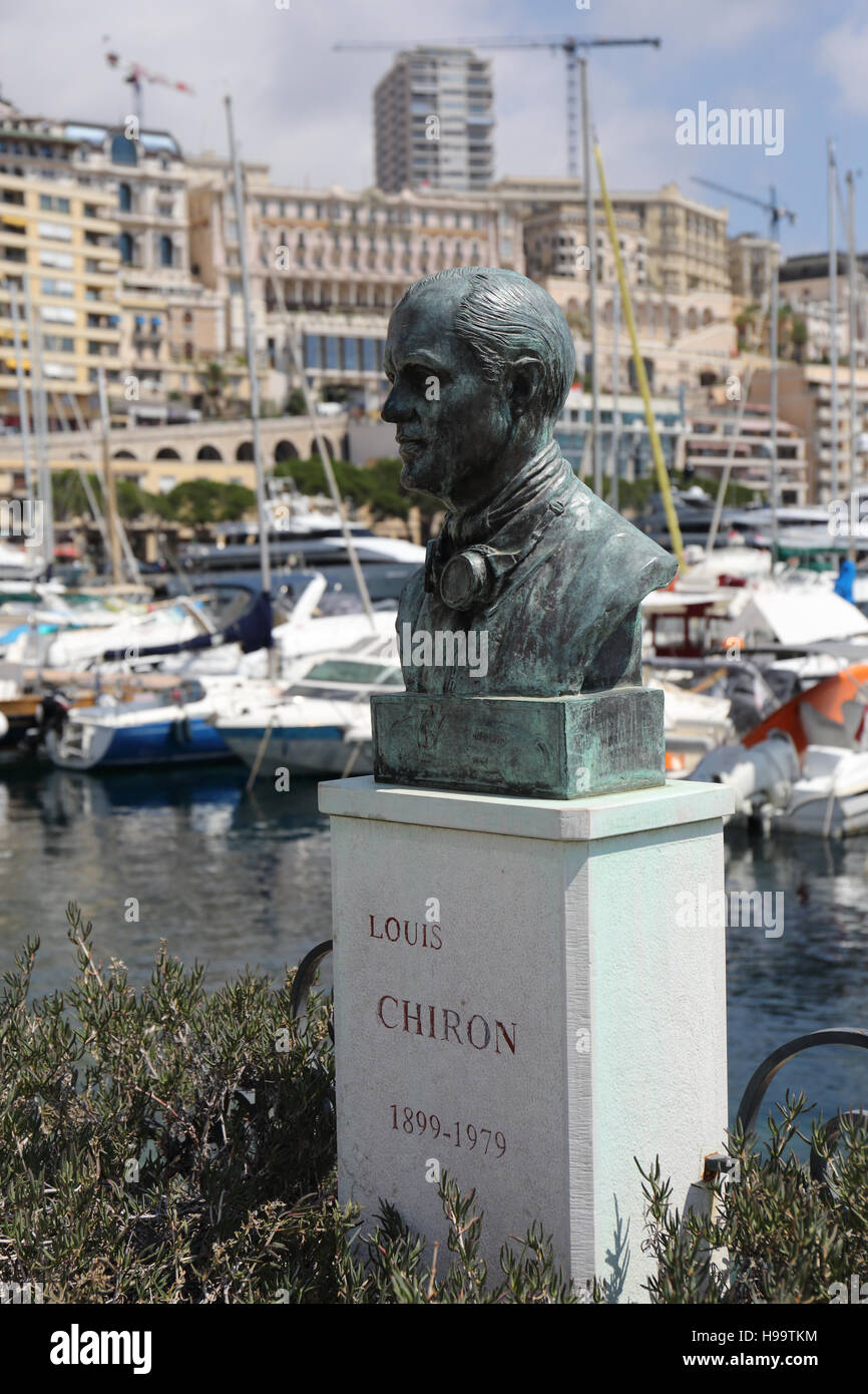 Statue of Louis Chiron, locally born racing driver who was placed 6th at the Monaco grand prix in 1955 when he was - Stock Image