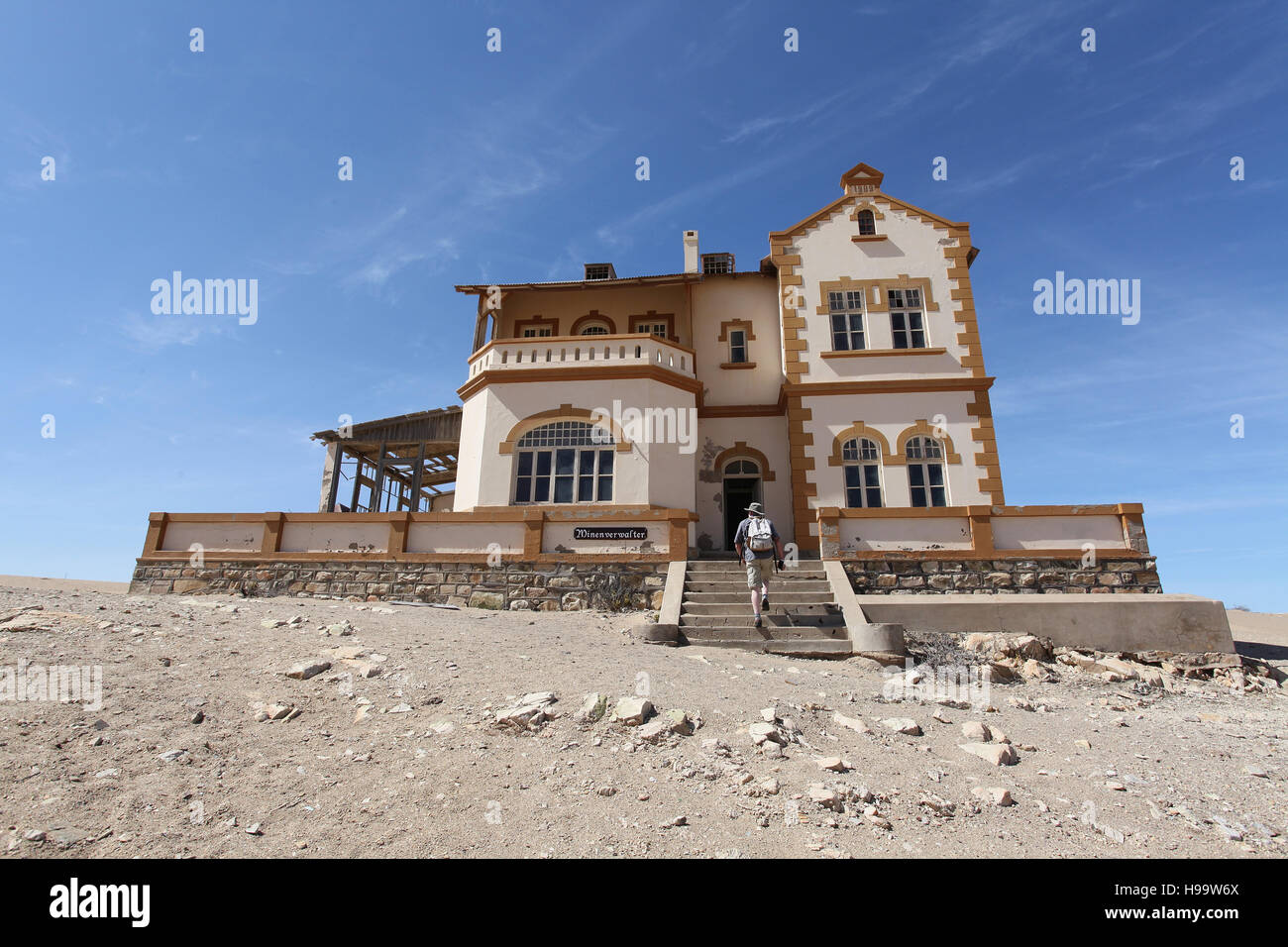 Mine Managers House at Kolmanskop Ghost Town at Luderitz in Namibia - Stock Image