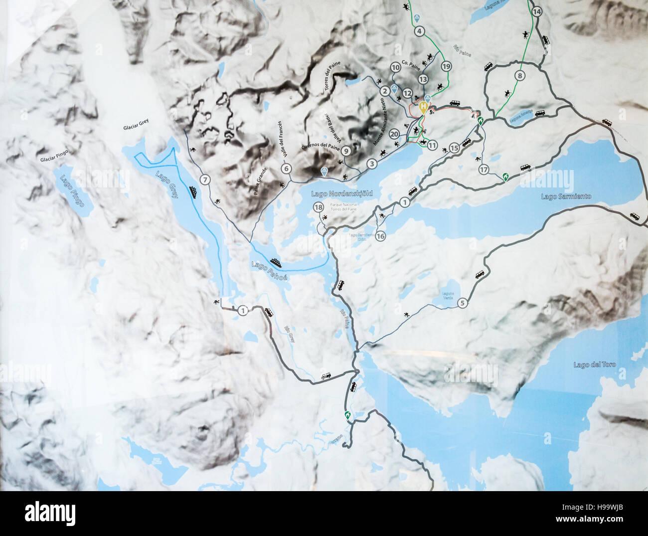 Patagonia Chile Trail Map W Circuit - Stock Image