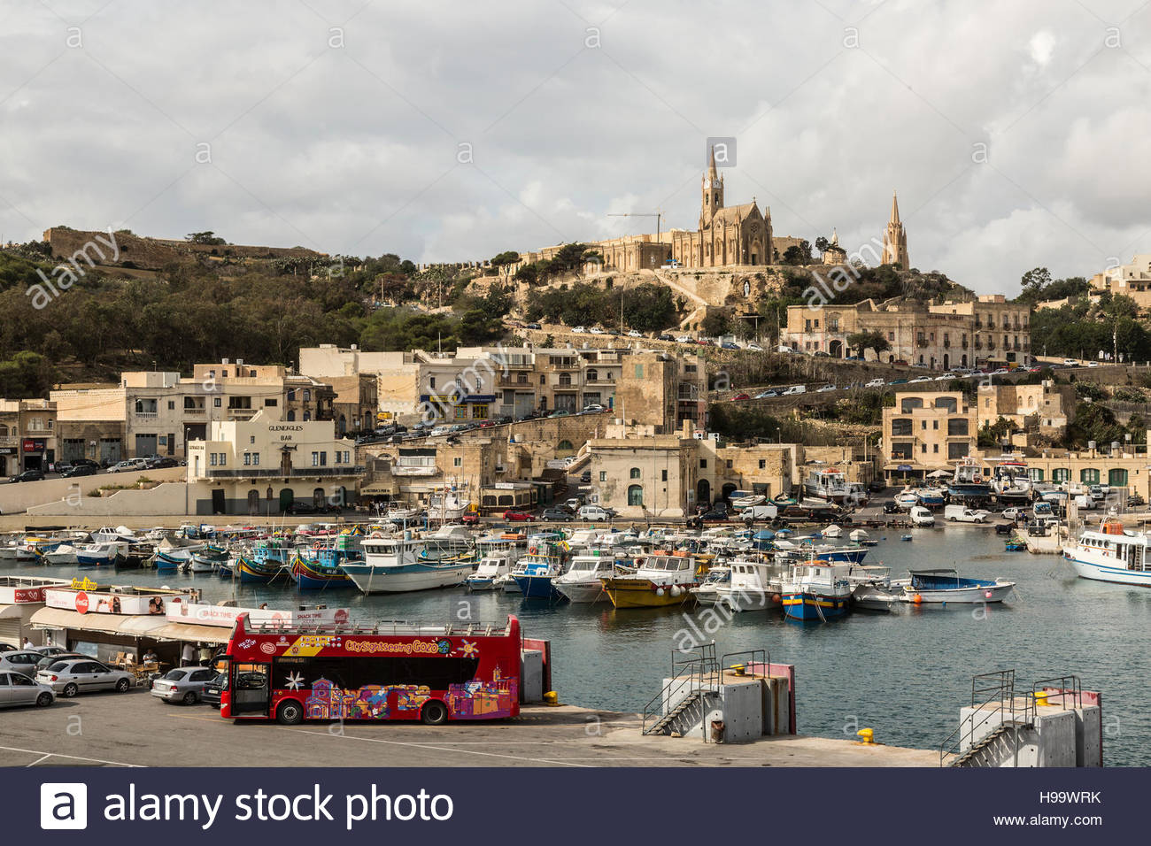 Mgarr harbour and town on Gozo, Malta - Stock Image