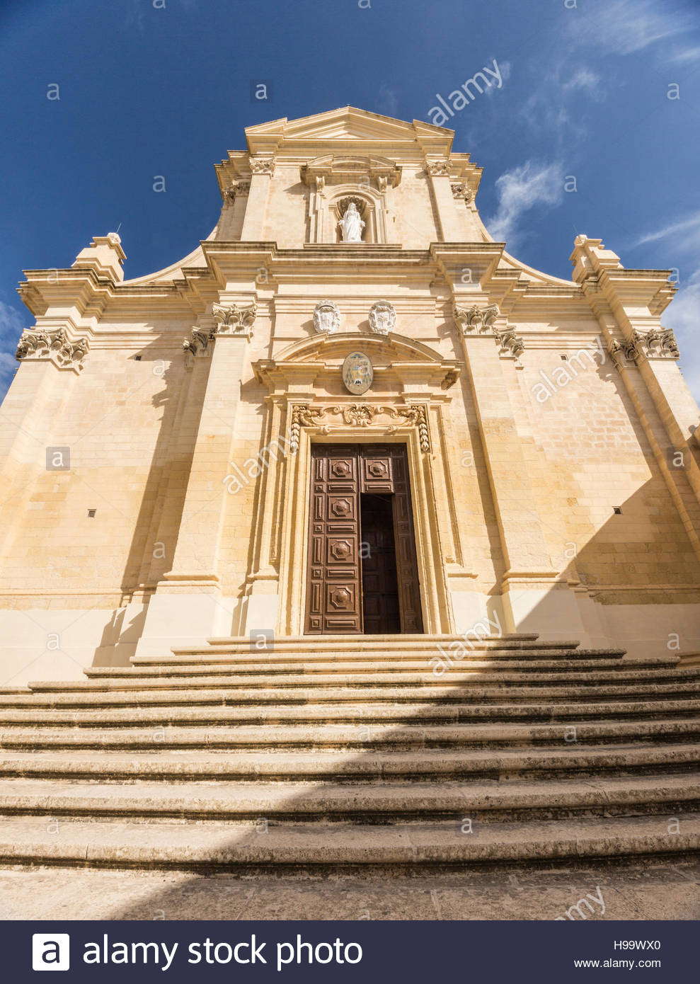 Entrance to Cathedral in Citadel at Victoria on Gozo, Malta. - Stock Image