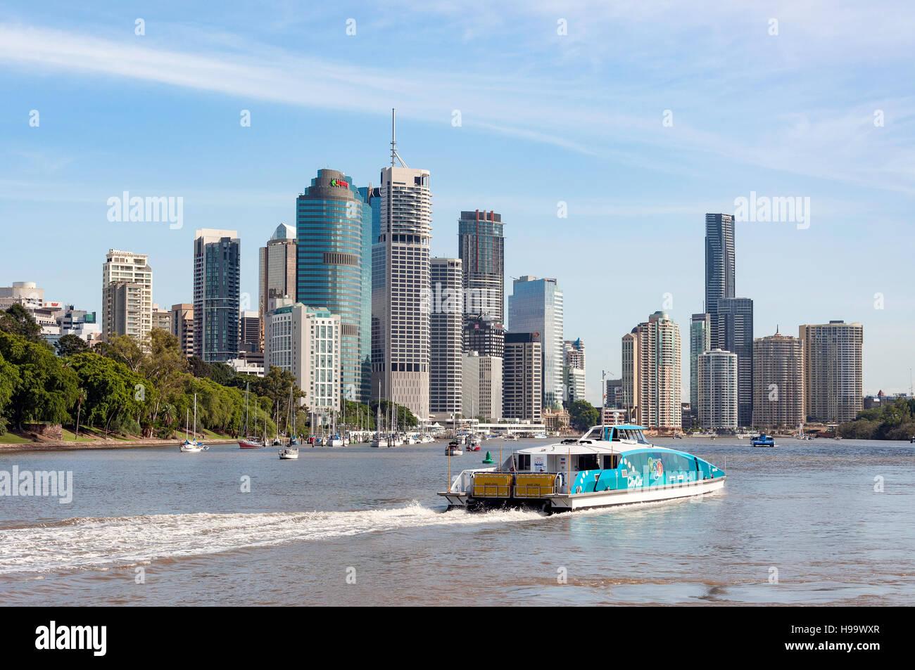 City view across Brisbane River from Kangaroo Point, Brisbane City, Brisbane, Queensland, Australia - Stock Image