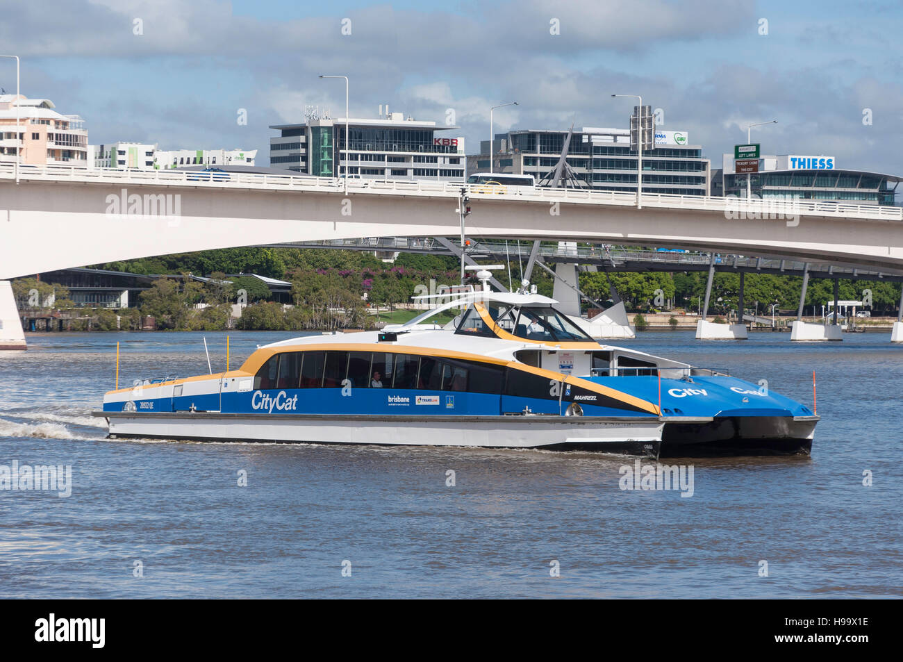 CityCat ferry boat on Brisbane River, Brisbane City, Brisbane, Queensland, AustraliaStock Photo