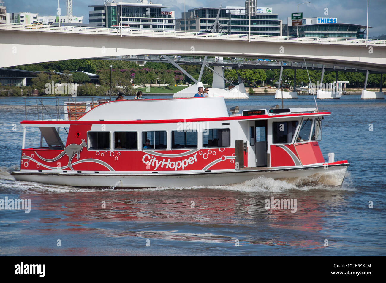 CityHopper ferry boat on Brisbane River, Brisbane City, Brisbane, Queensland, Australia - Stock Image