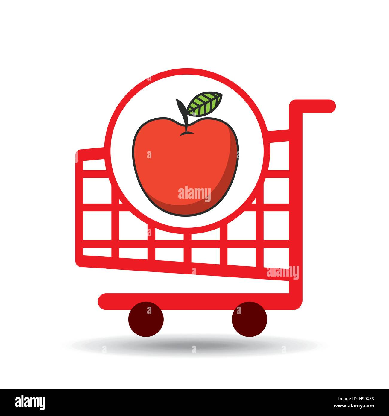 apple ecommerce shopping cart graphic vector illustration eps 10 - Stock Image