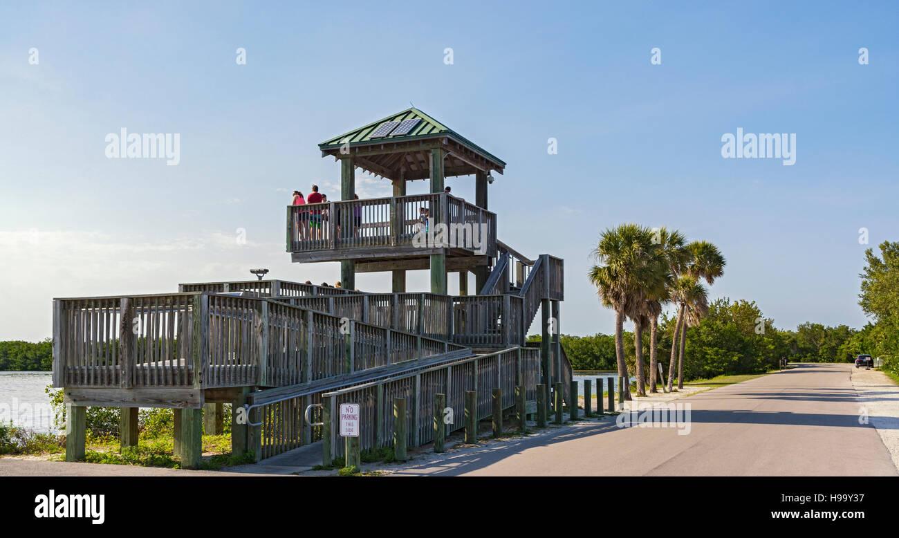 Florida, Sanibel Island, J.N. 'Ding' Darling National Wildlife Refuge, Wildlife Drive, Observation Tower, - Stock Image