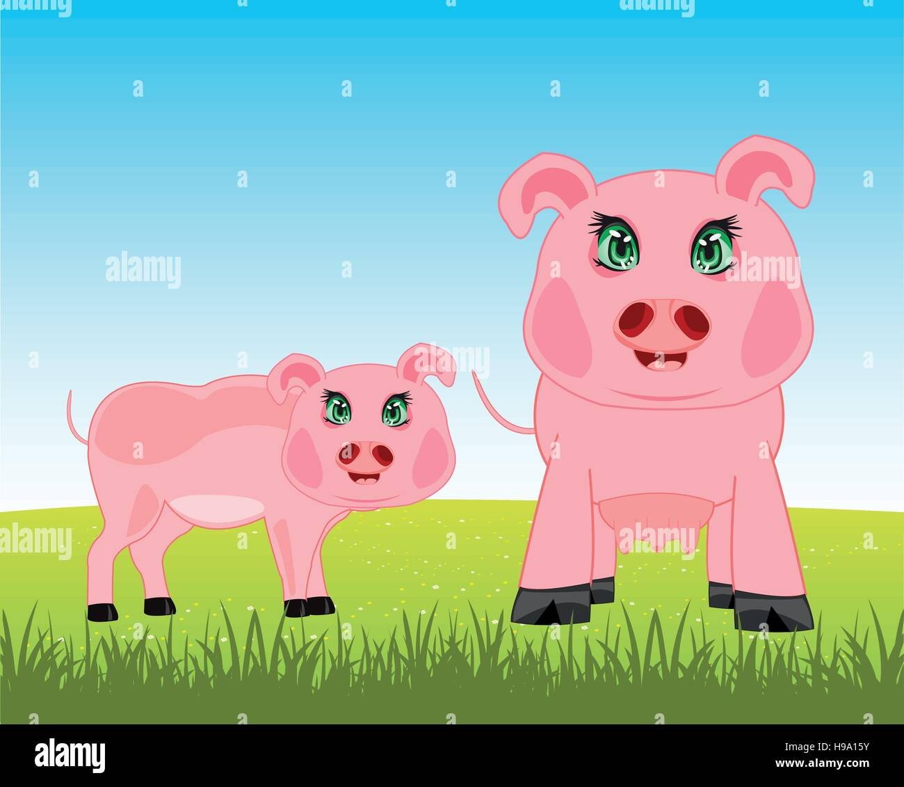 Pigs on meadow - Stock Image