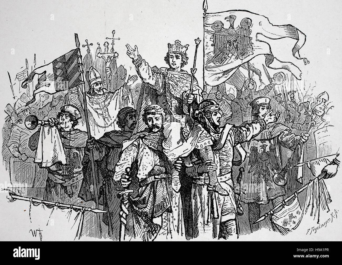 Lothair II., or Lothair,  9 June 1075 - 4 December 1137, known as Lothair of Supplinburg, was Holy Roman Emperor - Stock Image