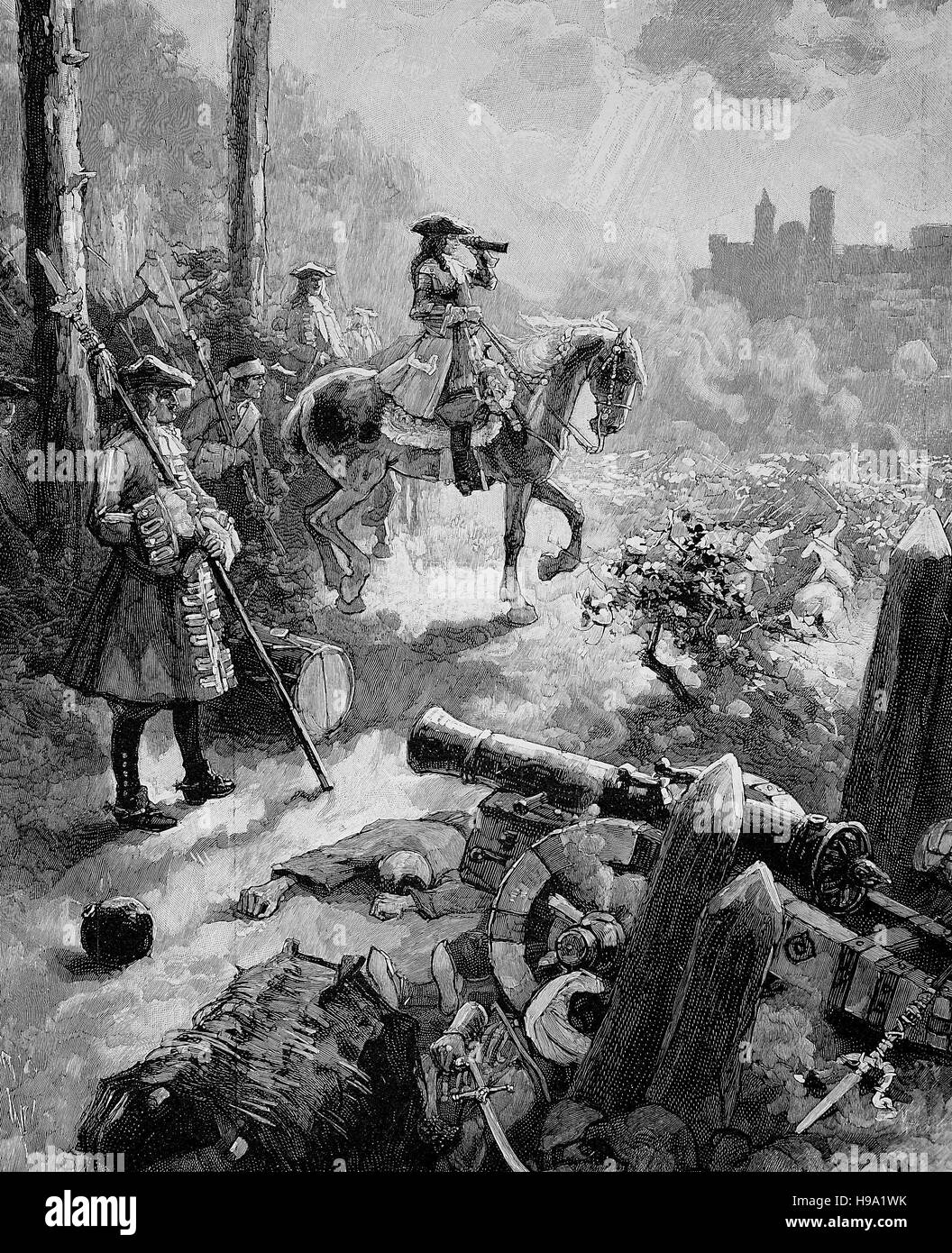 The siege of Belgrade in 1717 occurred during the Austro-Venetian-Ottoman war 1714-1718, here Prince Eugene of Savoy, - Stock Image