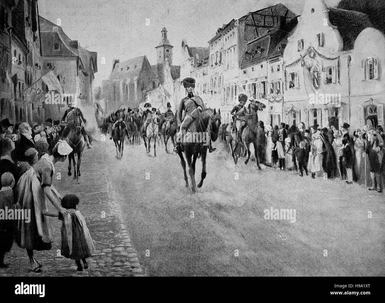 Napoleon passes through a city, historical illustration - Stock Image