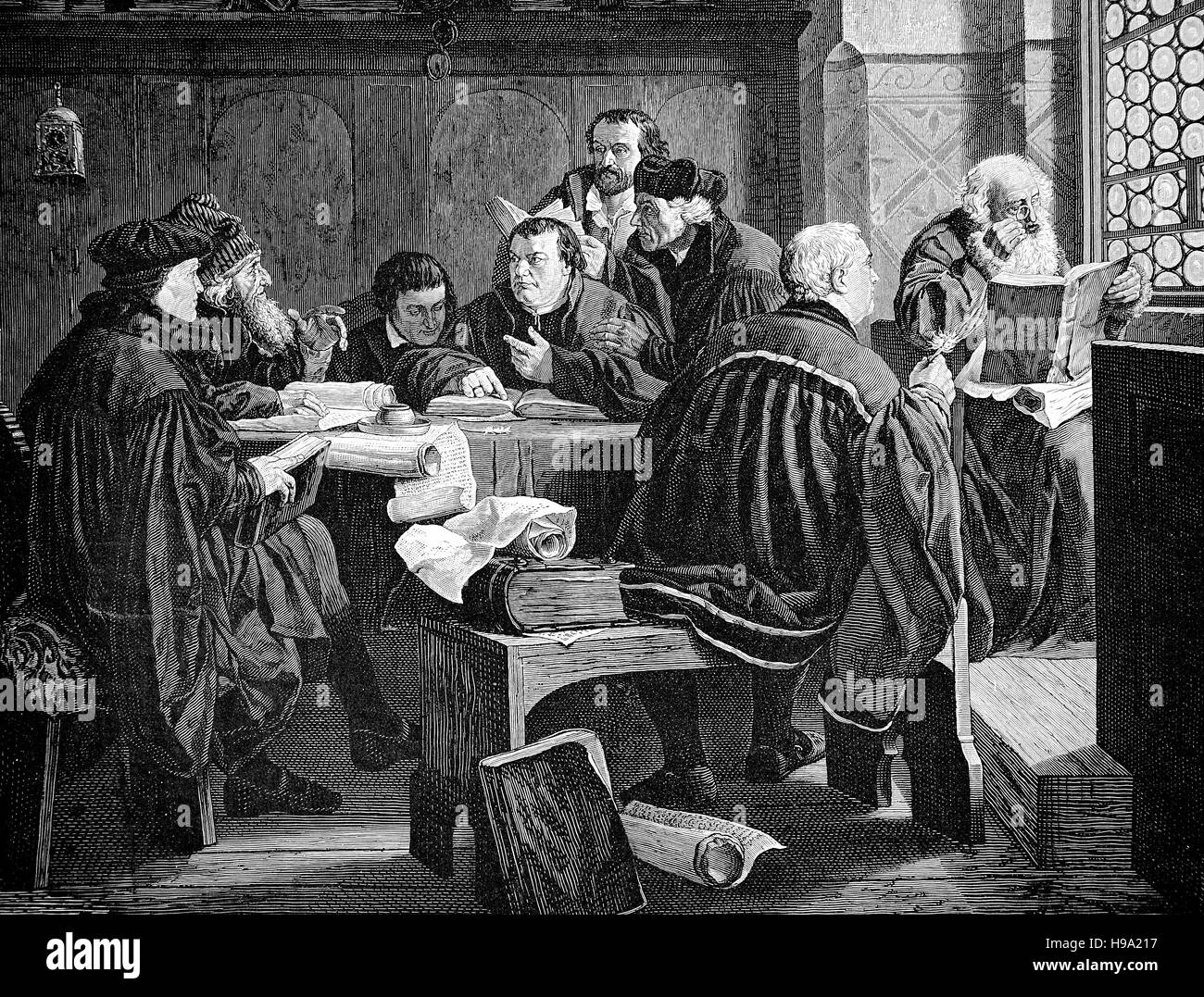 Martin Luther interprets the Bible, historical illustration - Stock Image