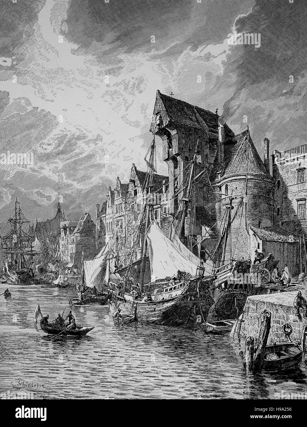 Harbour of Gdansk, Danzig, Poland in the Middle Ages, historical illustration - Stock Image