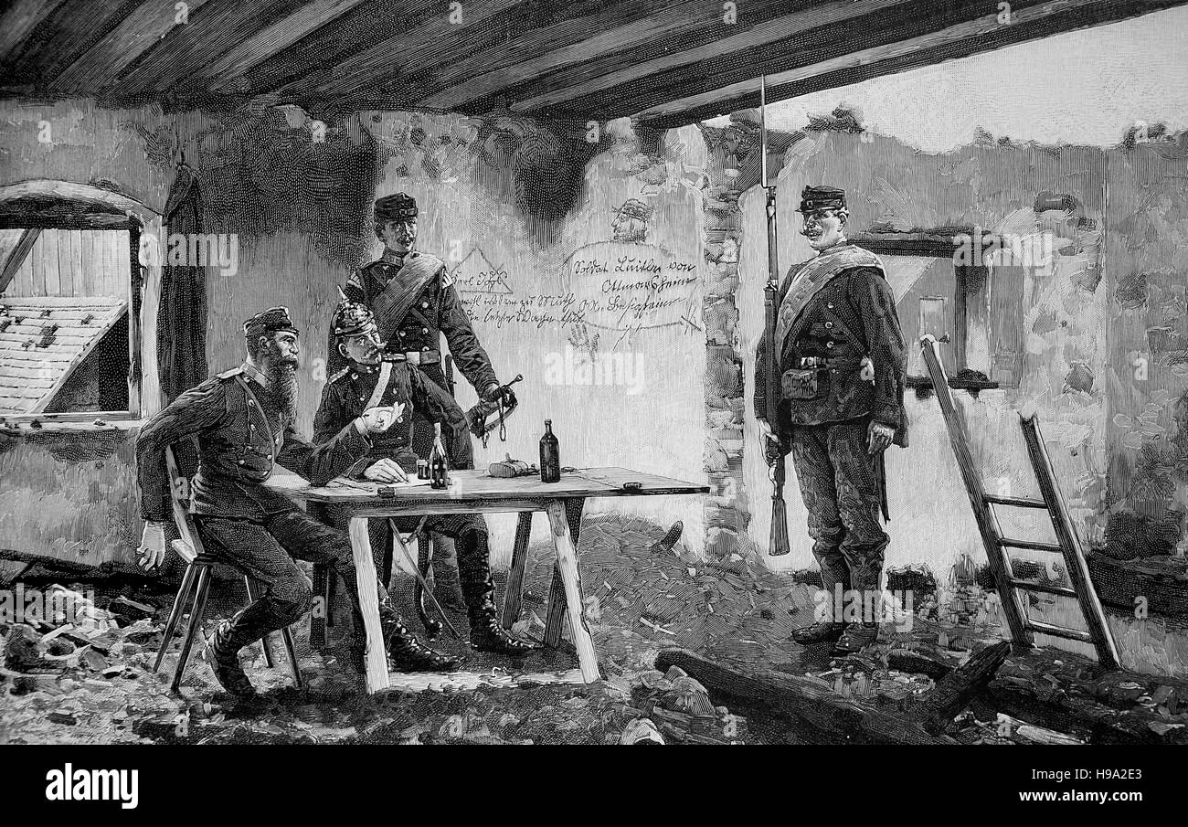 Franco - Prussian War, 1870, Group headquarters in Paris, historical illustration - Stock Image