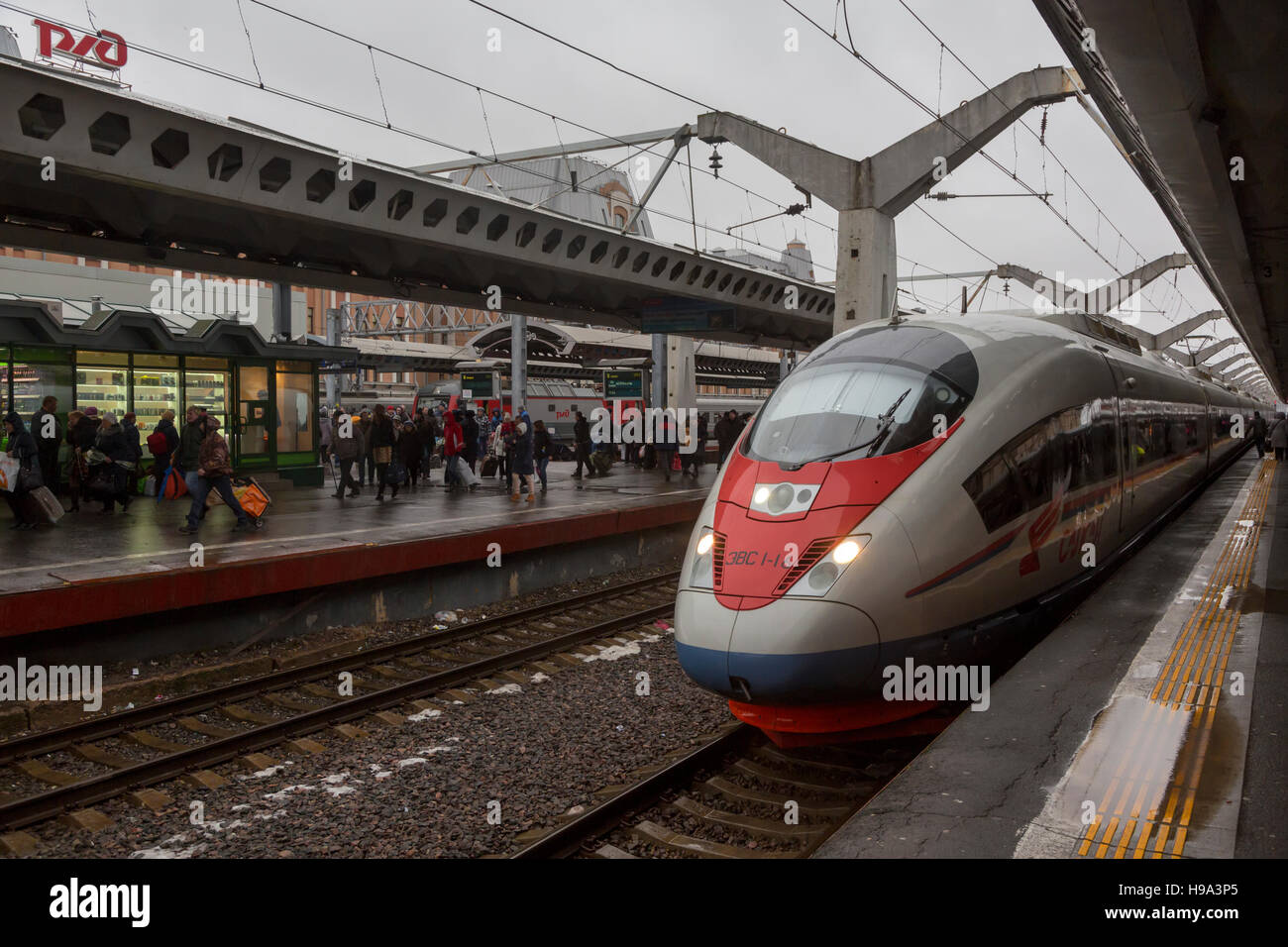 "The modern high-speed train ""Sapsan"" at the platform of the Moscow station in Saint Petersburg city, Russia Stock Photo"
