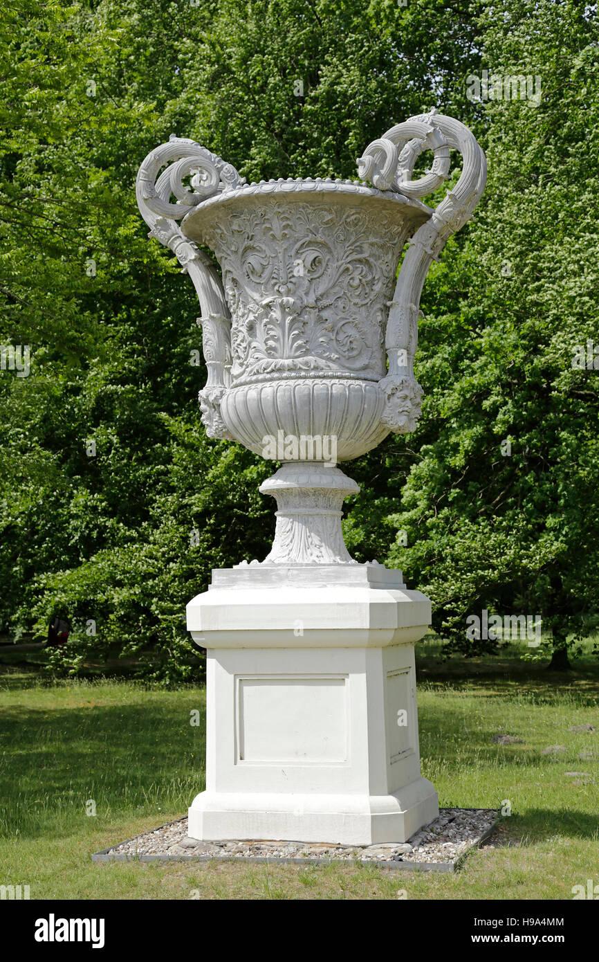 vase, palace gardens, Ludwigslust, Mecklenburg-West Pomerania, Germany - Stock Image