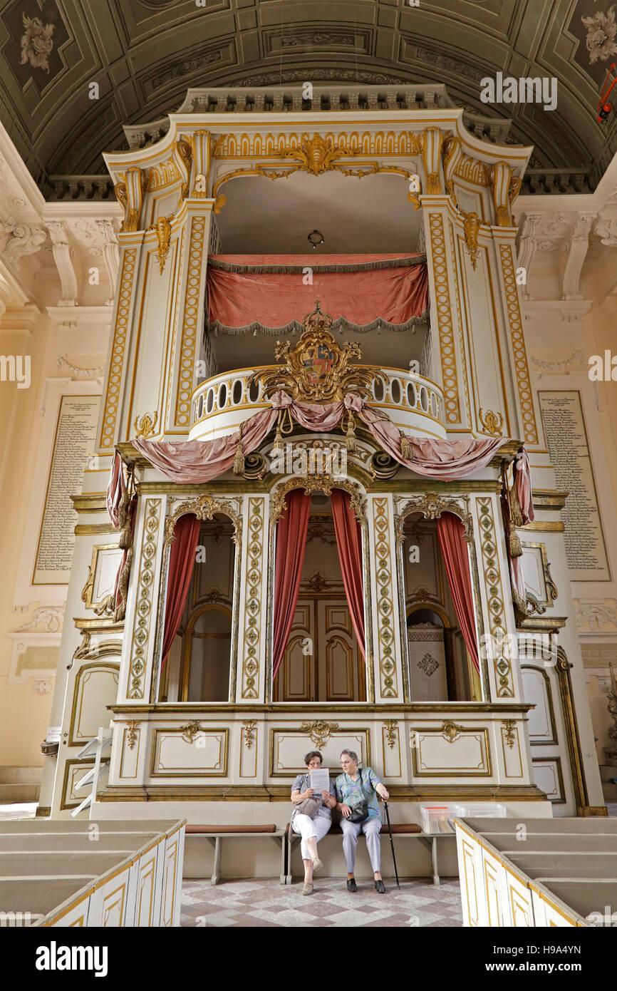 Royal Box, parish church, Ludwigslust, Mecklenburg-West Pomerania, Germany - Stock Image