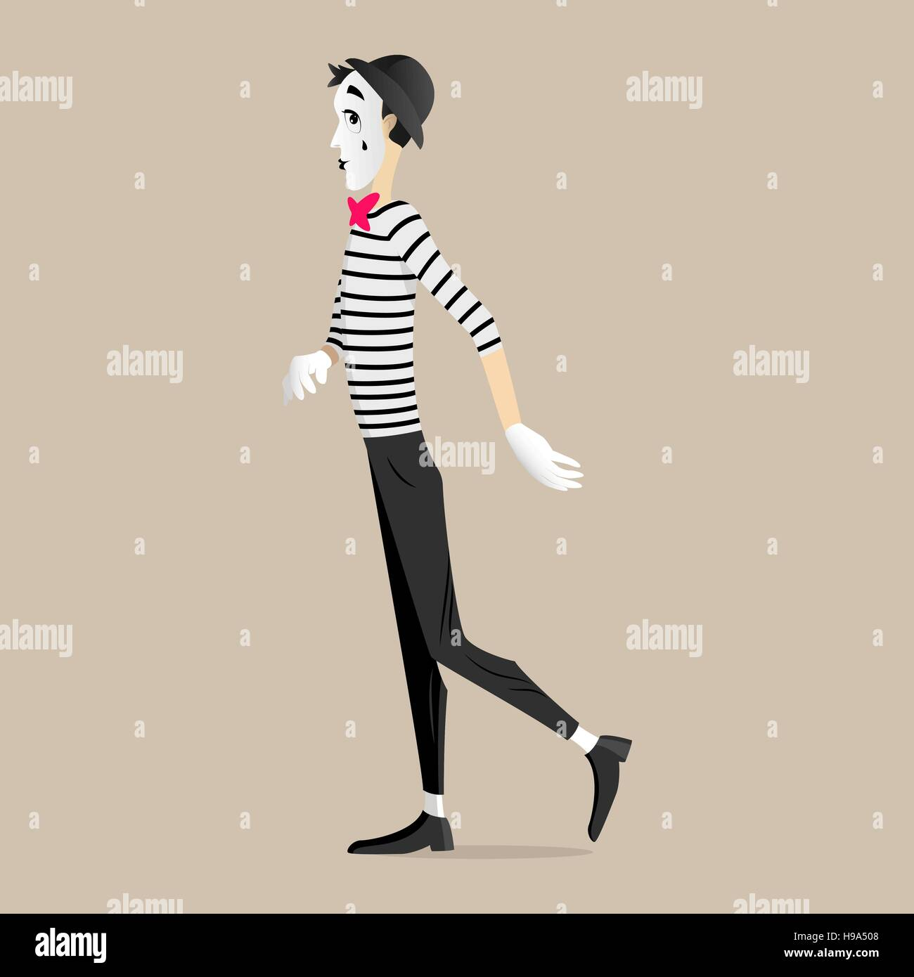 A Mime performing a pantomime called sliding walk - Stock Vector