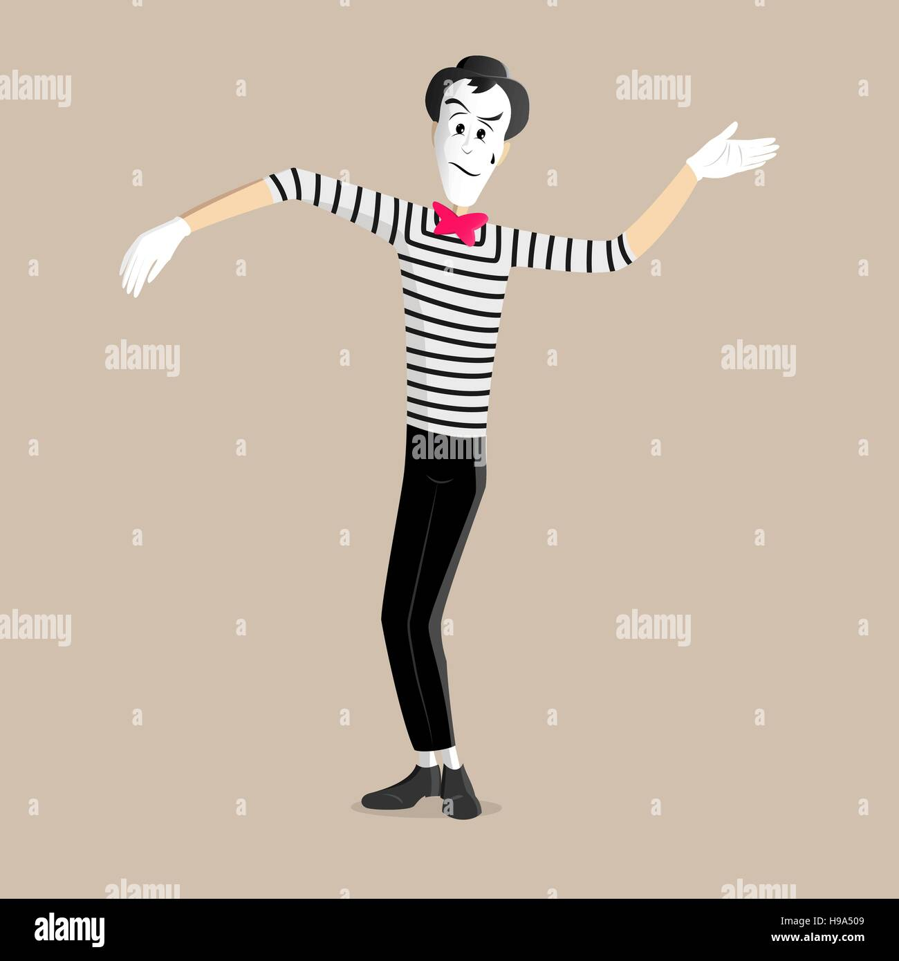 A Mime performing a pantomime called waving - Stock Vector