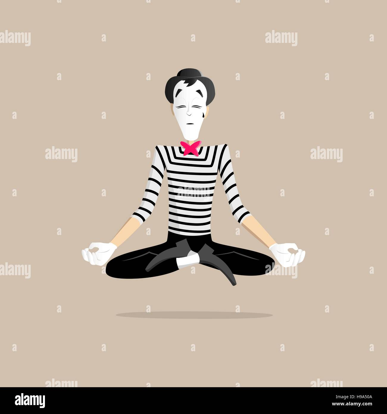 A Mime performing a pantomime called meditation - Stock Image