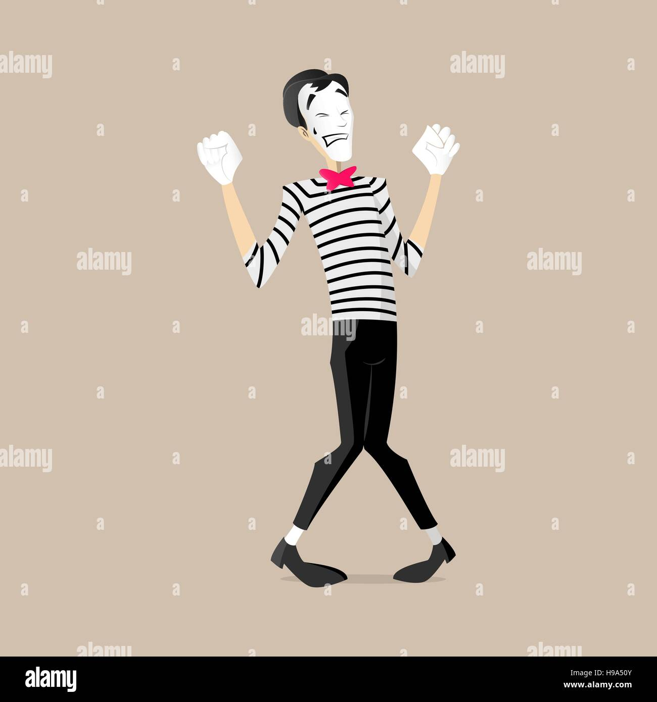 A Mime performing a pantomime called powerlifting - Stock Vector