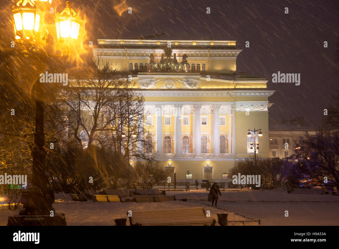 View of facade the Alexandrinsky theatre at the Ostrovsky square at night in Saint Petersburg, Russia - Stock Image