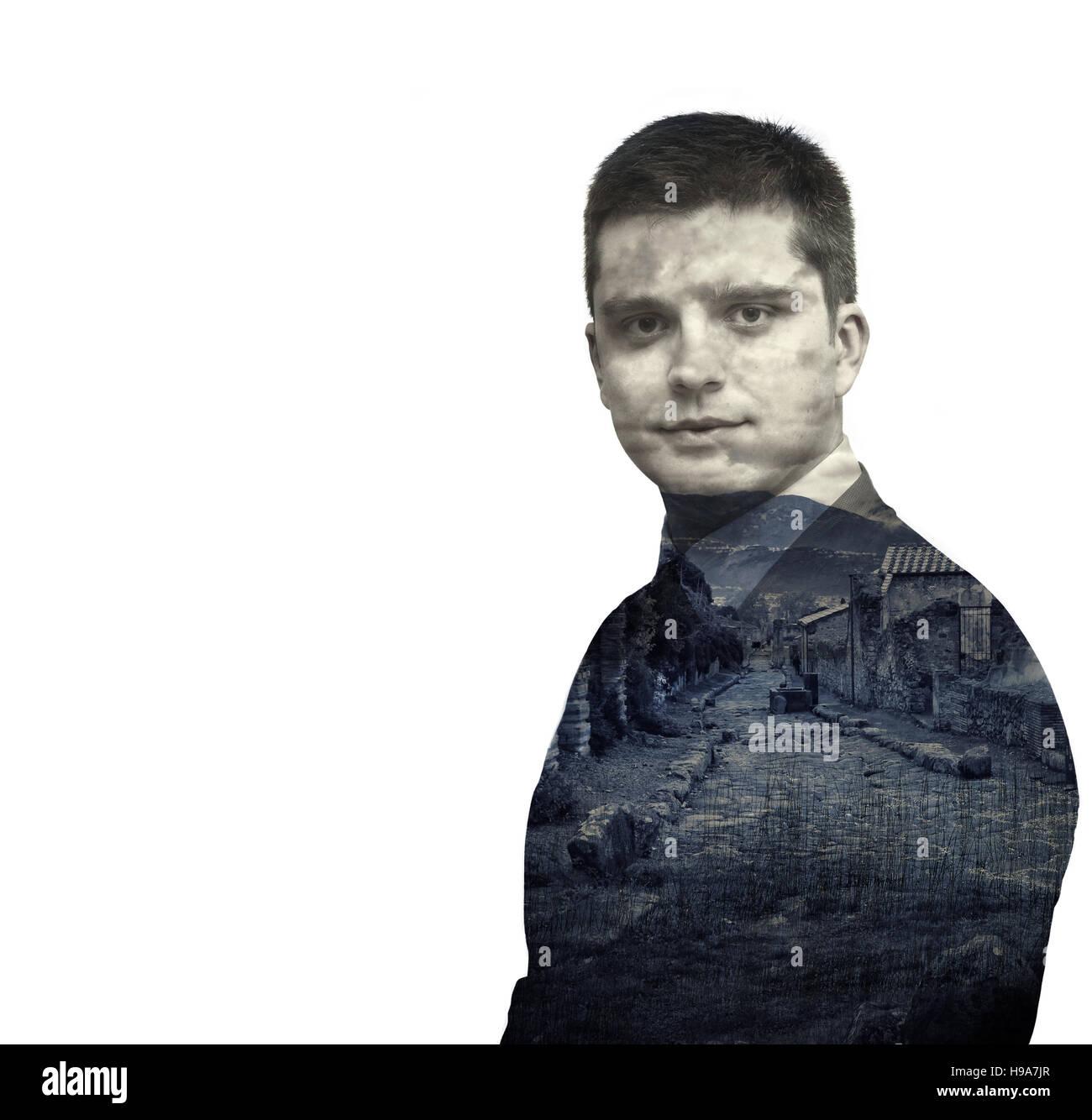 Detective man. Double exposure. - Stock Image