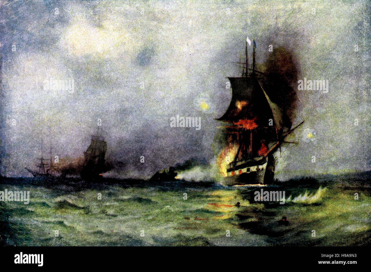 The Last of the Frigate. Naval warfare in the American Civil War. - Stock Image