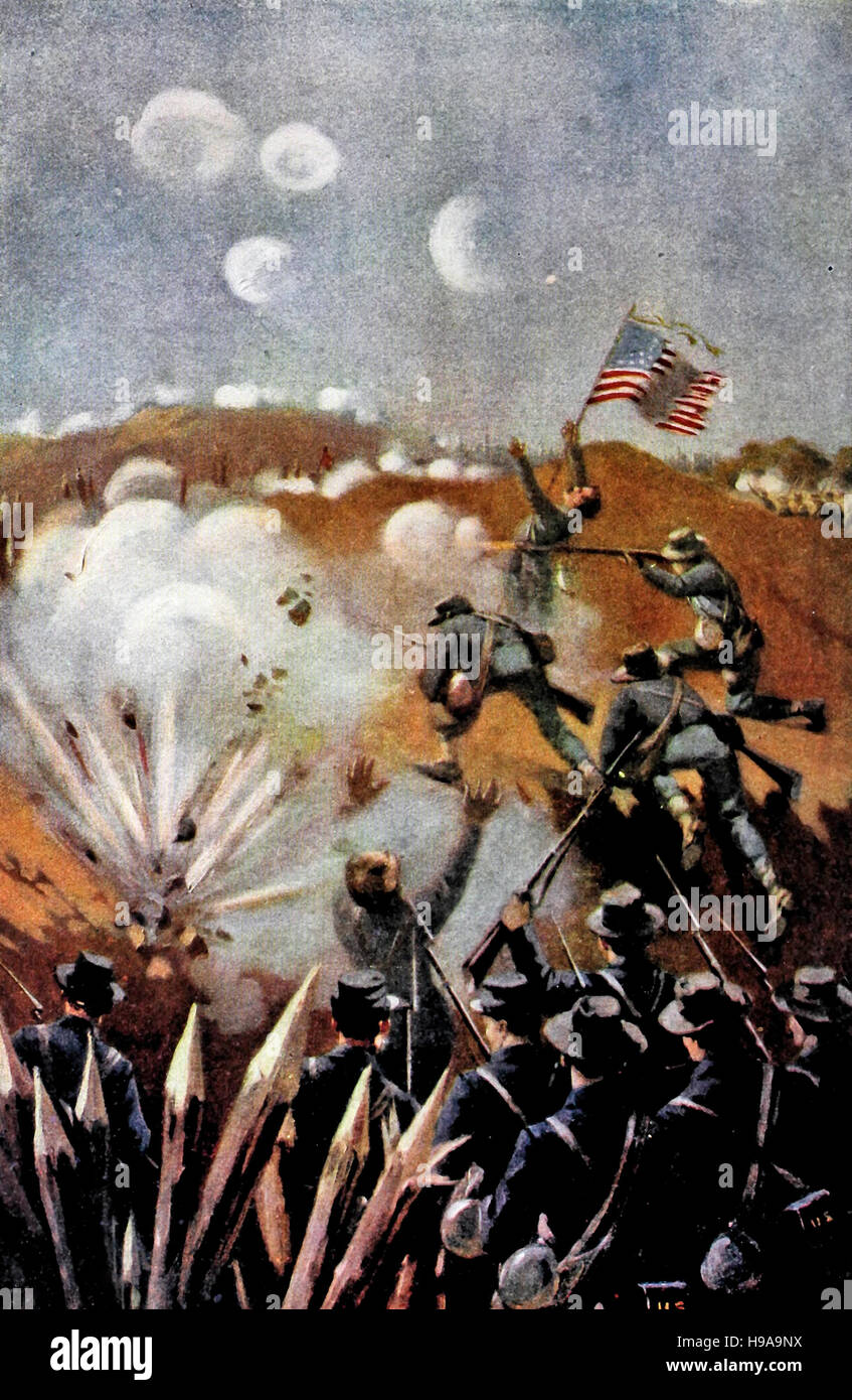 Storming the trenches during the USA Civil War - Stock Image