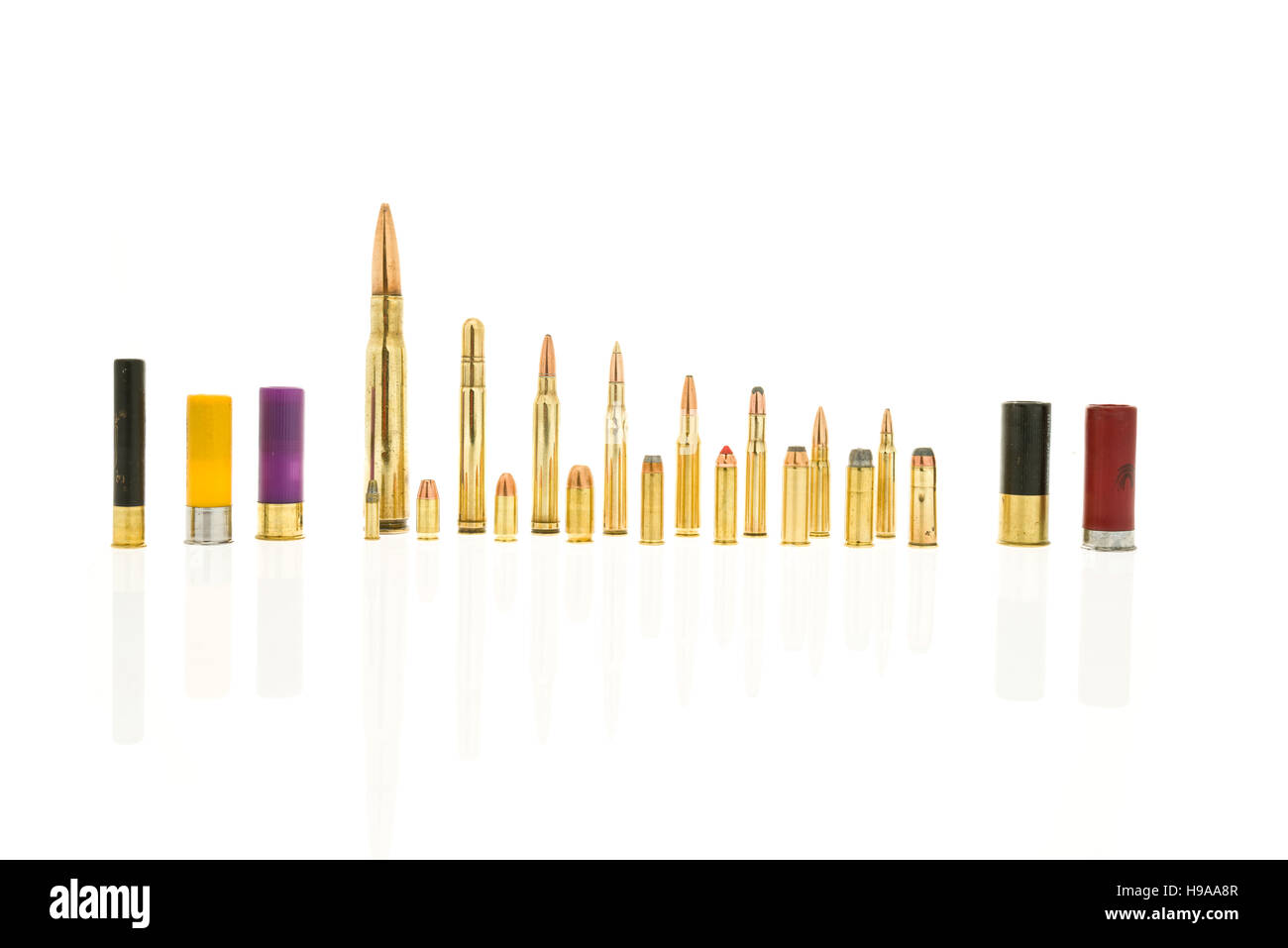 Containing rifle rounds including 50 cal and 5.56, handgun rounds 44 mag and 22 and shotgun rounds 410 and 20 gauge. - Stock Image