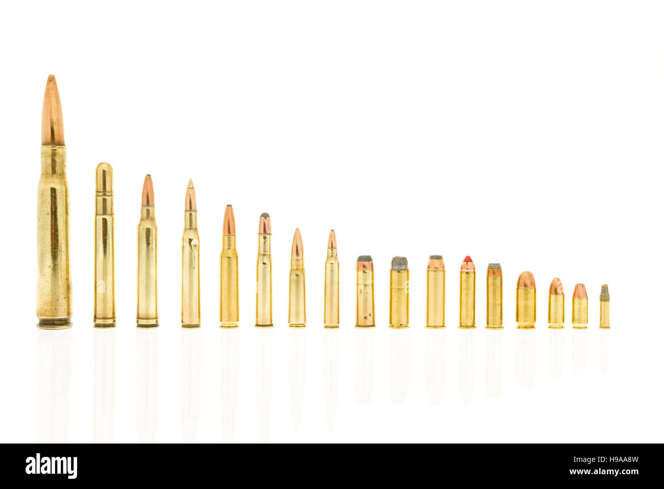 Calibers of bullets including 223, 5.56  39, 7.62, 30-30 win, 308 win, 270 win, 300 win mag, 416 rem mag, 50 BMG - Stock Image