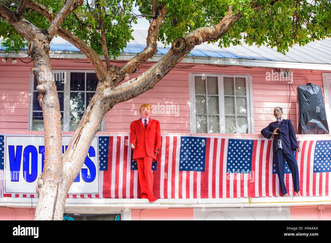 2016 Fantasy Fest decorations at 801 Bourbon Bar Key West, Florida. Theme political  voodoo & ballot box barbarians - Stock Image