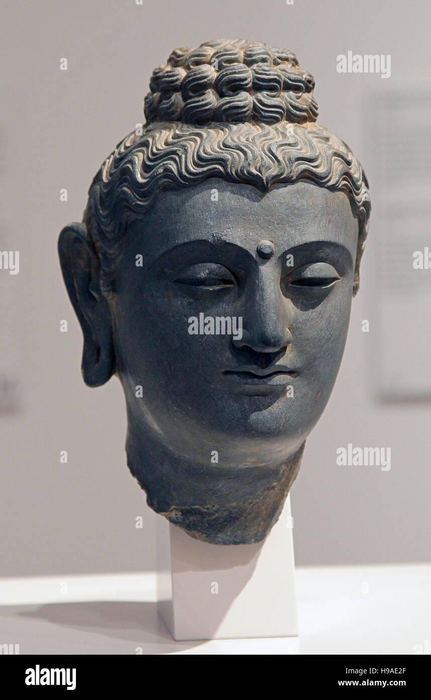 Head of the Buddha Pakistan Gandhara 3th century - Stock Image