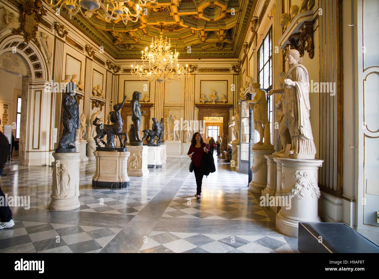 Capitoline museums hall , Rome, italy,  musei capitolini, art heritage touristic landmark - Stock Image