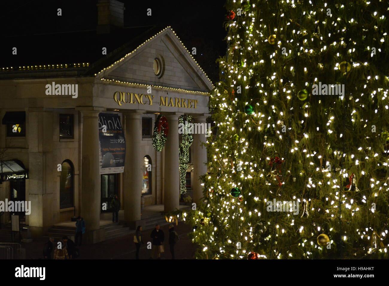 faneuil hall christmas tree lighting. Quincy Market In Faneuil Hall Decorated For Christmas And The Holiday Season. - Stock Image Tree Lighting C