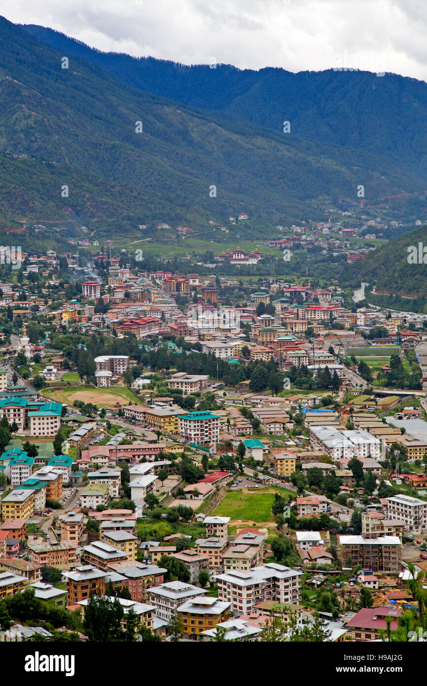 Overhead view of Bhutan - Stock Image