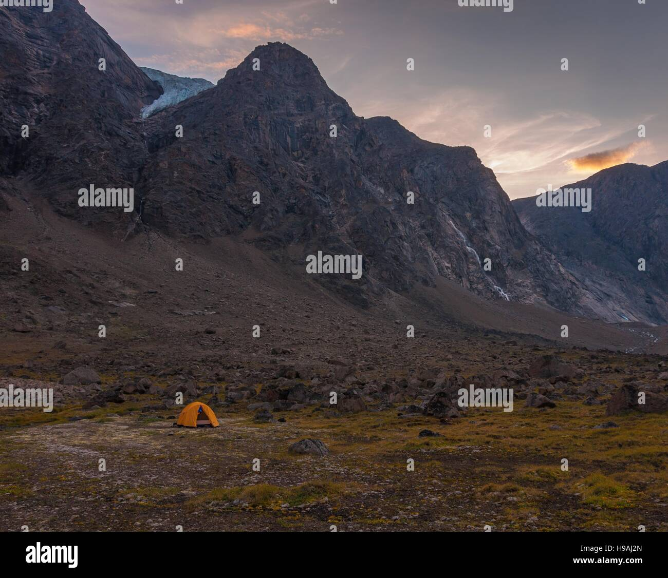 Base camping in Auyuittuq National Park scenery, Nunavut, Canada. 3/3 Stock Photo