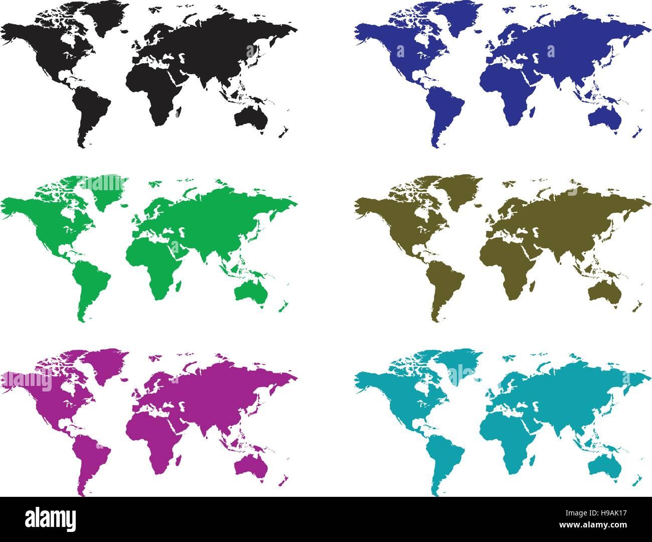 earth map icon colour set - Stock Image