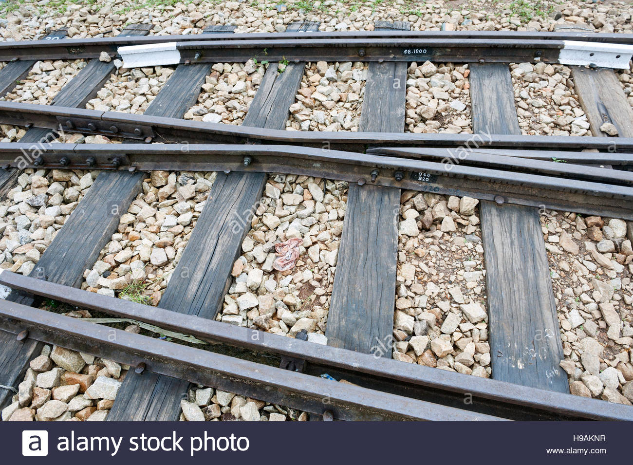 Dalat Vietnam Dalat Railways station. Rail track points with wooden sleepers and ballast stones. - Stock Image